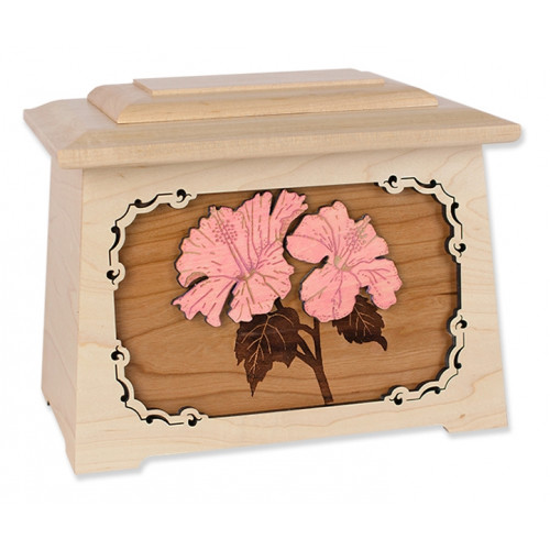 Hibiscus Cremation Urn for Ashes with 3D Inlay Wood Art - Maple