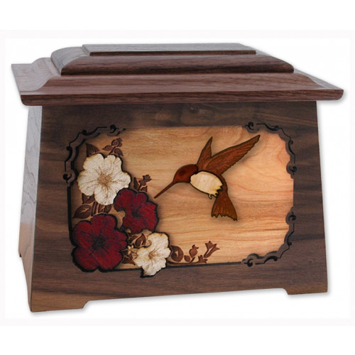 Hummingbird Cremation Urn for Ashes with 3D Inlay Wood Art - Walnut