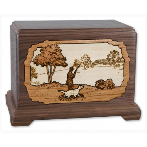 Hunter and Dog Cremation Urn for Ashes with 3D Inlay Wood Art - Walnut