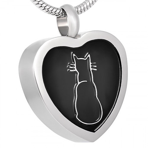 Silhouette Cat Heart Cremation Pendant