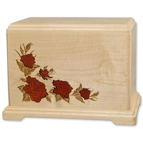 Inlay Cremation Urn for Ashes with Roses