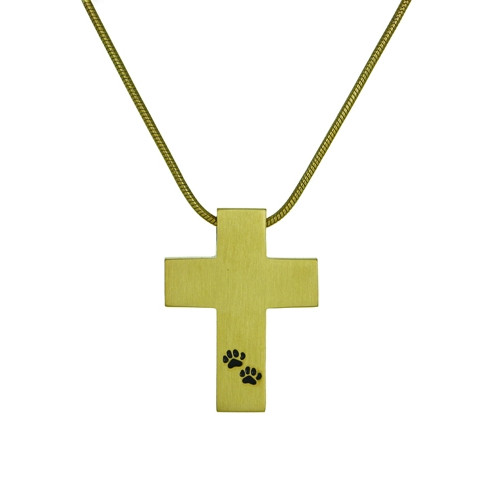 Bronze Cross with Paw Prints Cremation Pendant