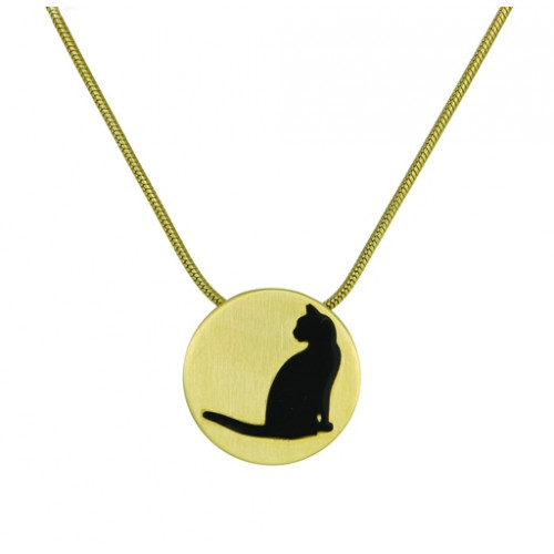 Bronze Round Cremation Pendant with Cat Silhouette