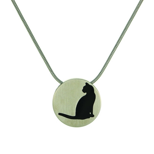 Pewter Round Cremation Pendant with Cat Silhouette