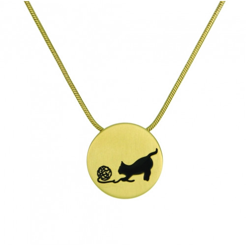 Bronze Round Cremation Pendant with Cat and Yarn