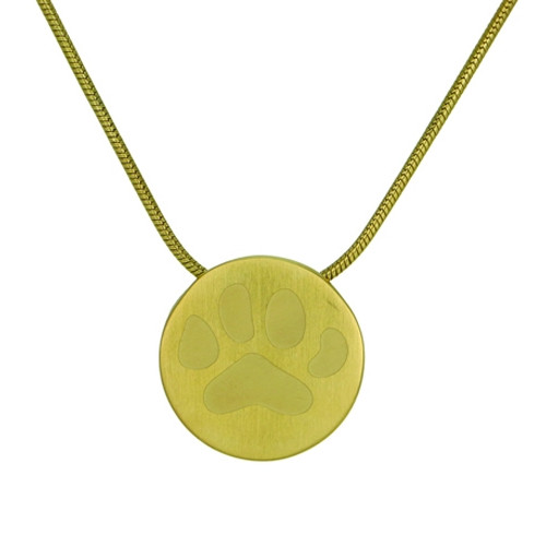 Bronze Round Cremation Pendant with Large Paw