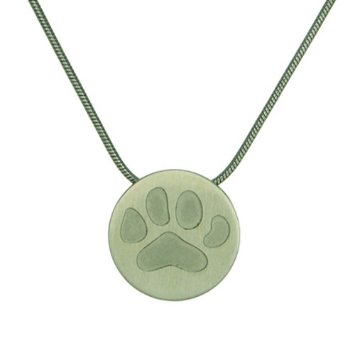 Pewter Round Cremation Pendant with Large Paw