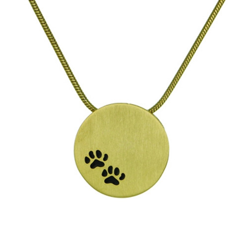 Bronze Round Cremation Pendant with Paw Prints