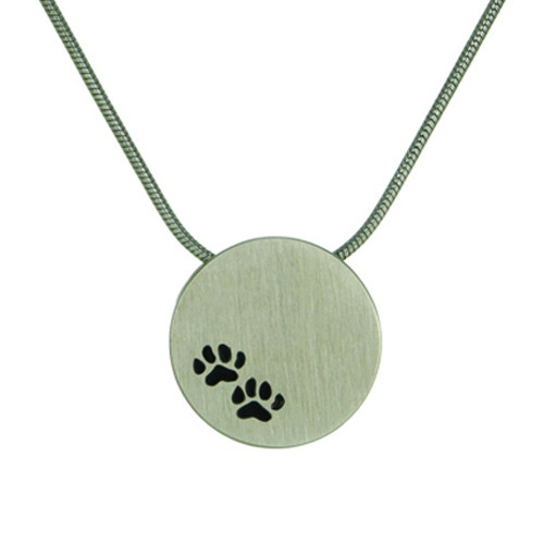 Pewter Round Cremation Pendant with Paw Prints