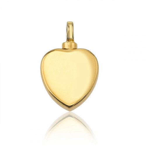Gold Flat Heart Cremation Pendant