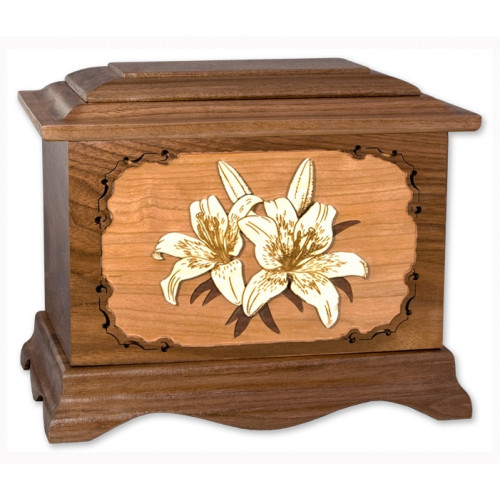 Lilies Cremation Urn for Ashes with 3D Inlay Wood Art - Walnut