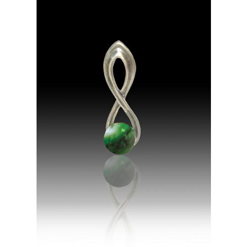 Infinity Glass Bead Pendant - Malachite - Sterling Silver