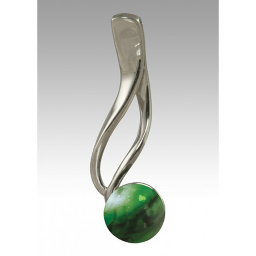 Tempo Glass Bead Pendant - Malachite - Sterling Silver