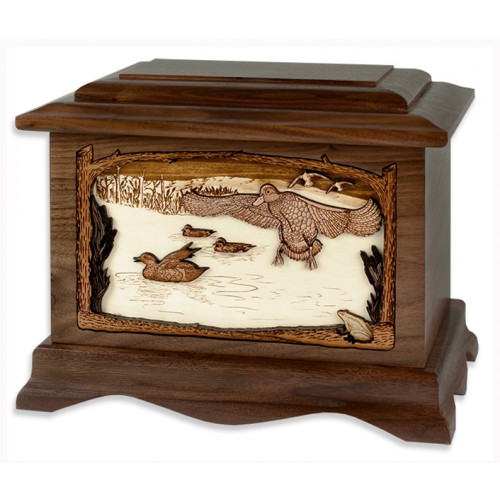 Marshland Melody Cremation Urn for Ashes with 3D Inlay Wood Art - Walnut