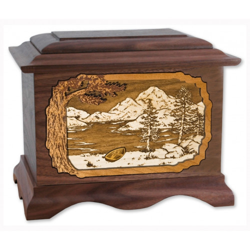 Mountain Lake Cremation Urn for Ashes with 3D Inlay Wood Art - Walnut