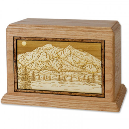Mountain Peak Collection Urn with 3D Inlay Wood Art