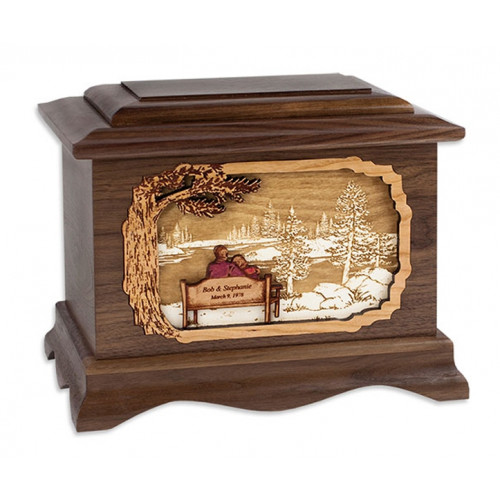 My Soul Mate Lake View with 3D Inlay Wood Art - Walnut