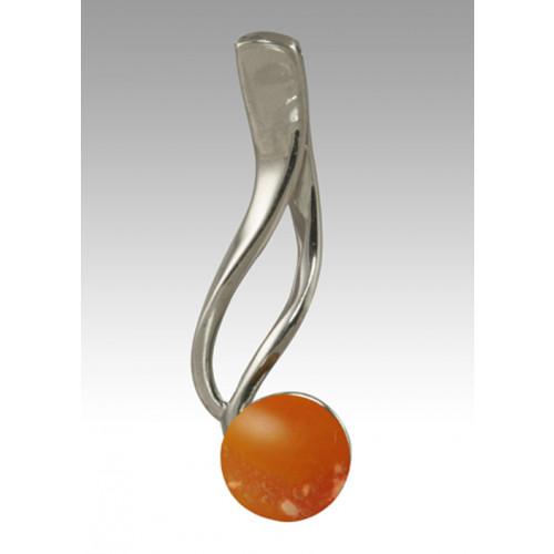Tempo Glass Bead Cremation Pendant - Orange - Sterling Silver
