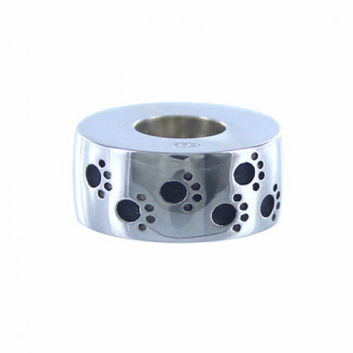 Sterling Silver Paw Prints Cremation Bead