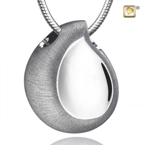 Silver TearDrop Two Tone Cremation Pendant