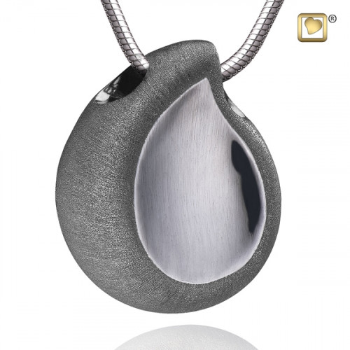 Silver Satin TearDrop Two Tone Cremation Pendant