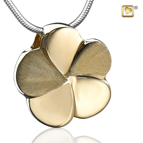 Gold Flower Bloom Two Tone Cremation Pendant