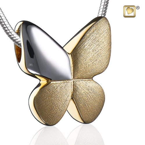 Gold Butterfly Two Tone Cremation Pendant