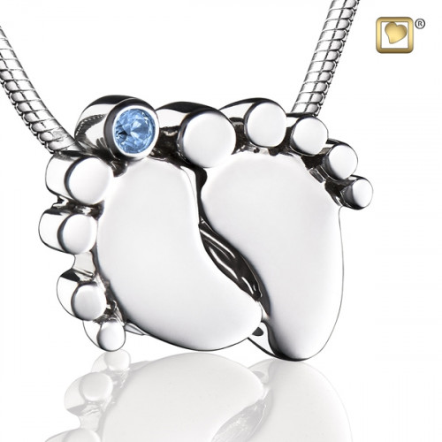 Baby Feet Cremation Pendant with Blue Crystal