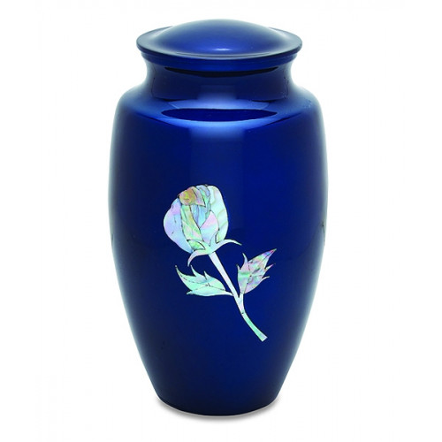 Deep Blue Pearl Rose Urn for Cremation Ashes