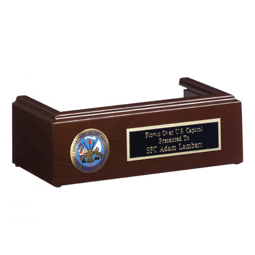 Military Flag Case Pedestal - Cherry