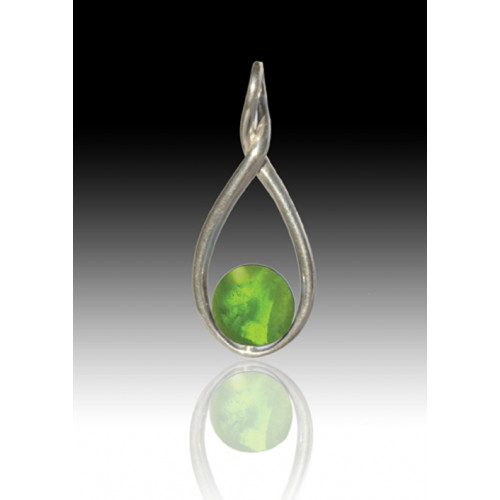 Melody Twist Cremation Pendant - Peridot - Sterling Silver