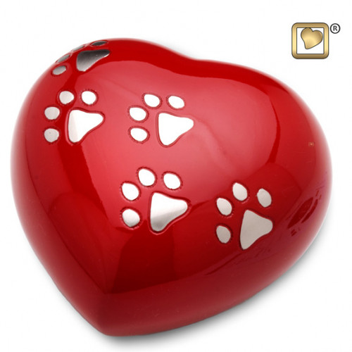 Heart Shaped LoveRed Pet Cremation Urn for ashes.