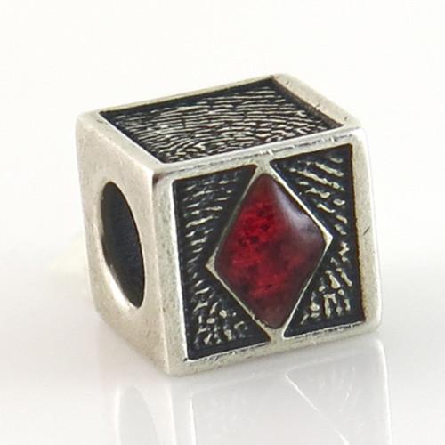 Phoenix Cube Bead Fingerprint Charm