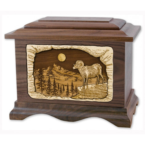 Ram Cremation Urn for Ashes with 3D Inlay Wood Art - Walnut