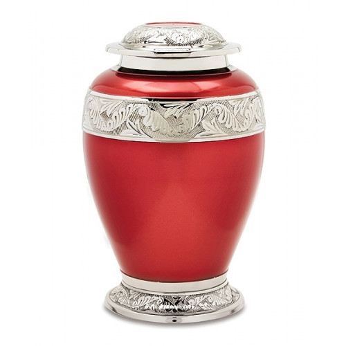 Red and Silver Brass Urn