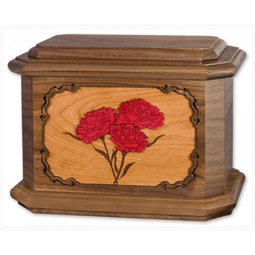 Carnations Cremation Urn for Ashes with 3D Inlay Wood Art - Walnut