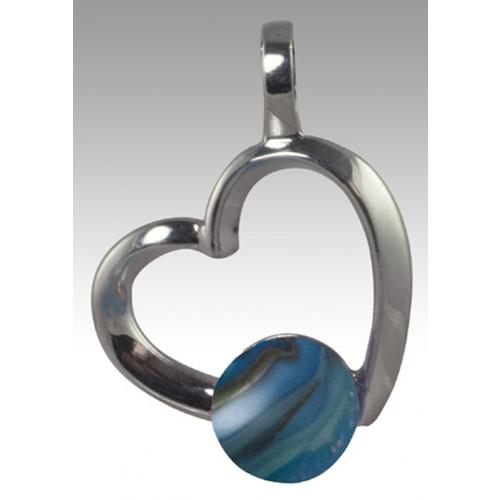 Rhythm Glass Bead Cremation Pendant - Sterling Silver