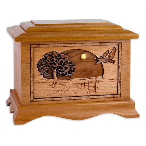 Flying Home Urn with 3D Inlay Wood Art - Mahogany