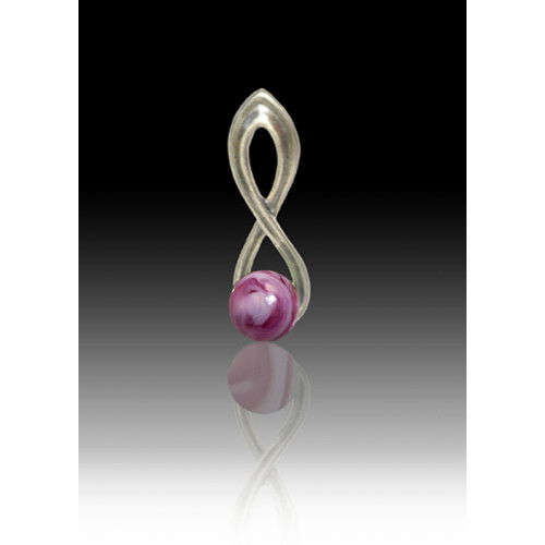 Infinity Glass Bead Pendant - Rose Swirl - Sterling Silver
