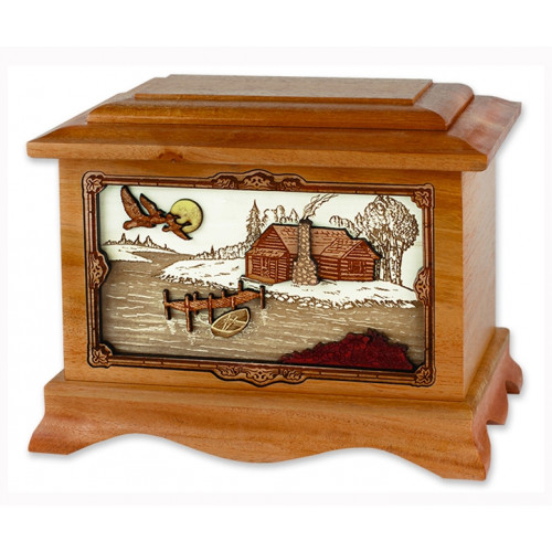 Rustic Paradise Cremation Urn for Ashes with 3D Inlay Wood Art - Mahogany