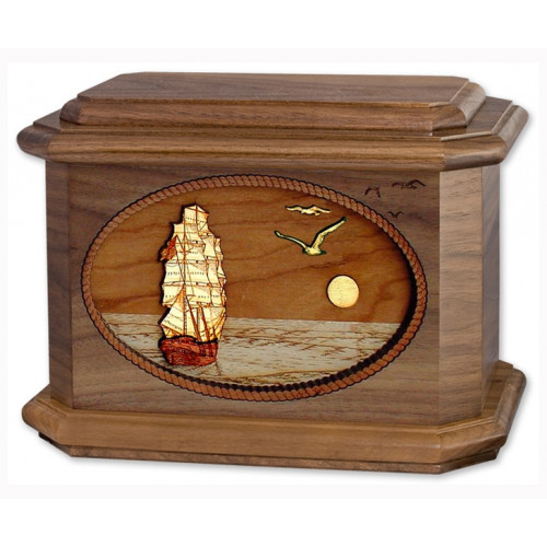 Sailing Home Cremation Urn for Ashes with 3D Inlay Wood Art - Walnut