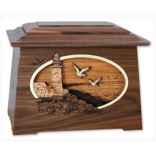 Sea Coast Cremation Urn for Ashes with 3D Inlay Wood Art - Walnut