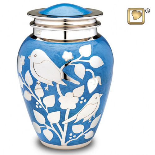 Silver Blessing Birds Cremation Urn for Ashes