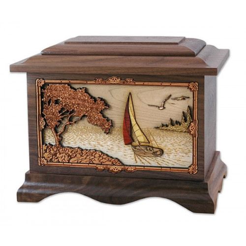 Soft Breezes Sailing Cremation Urn for Ashes with 3D Inlay Wood Art - Walnut