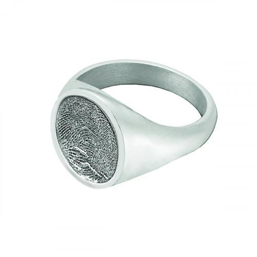 Signet Ring in Sterling Silver - Fingerprint