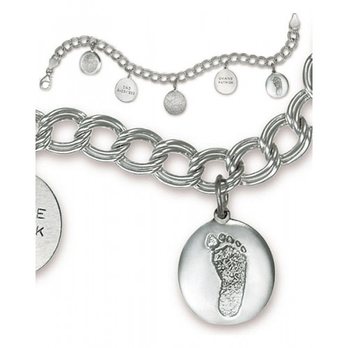 Double Link Charm Bracelet in Sterling Silver