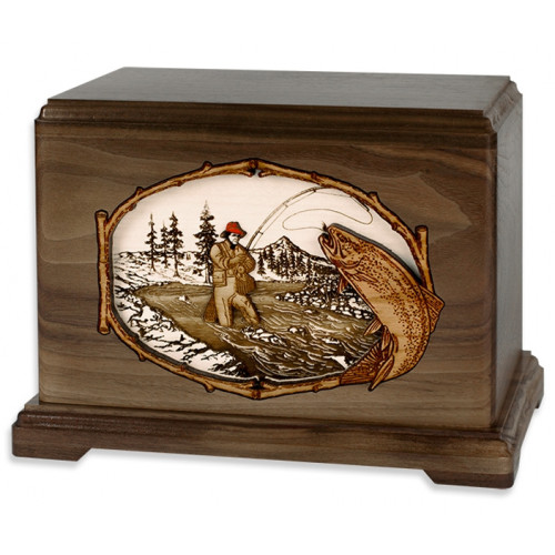 Stream Fishing Cremation Urn for Ashes with 3D Inlay Wood Art - Walnut - Trout