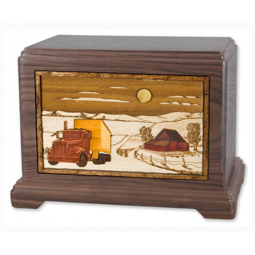 Trucker Cremation Urn for Ashes with 3D Inlay Wood Art - Walnut