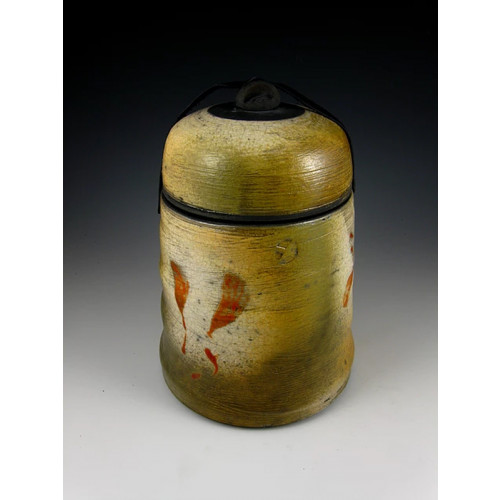 The Warm Textures and Red Raku Ceramic Cremation Urn