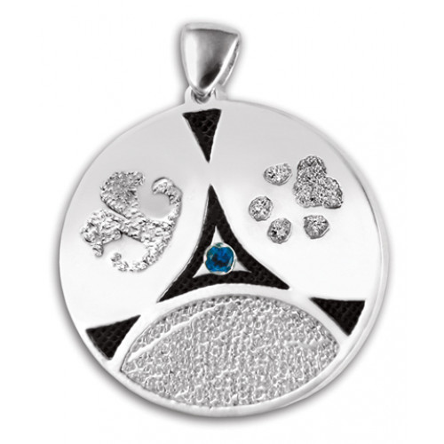 Family Ties Fingerprint Charm with 3 Prints and Birthstone - Sterling Silver